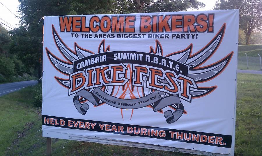 The_Cambria_County_ABATE_'Welcome_Bikers'_Sign_just_outside_of_the_campgrounds_for_Thunder_in_the_Valley.jpg
